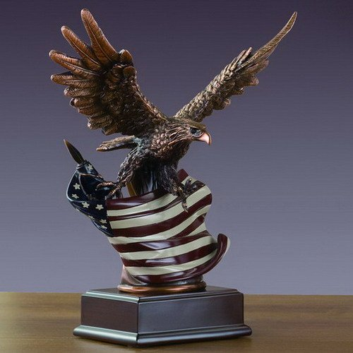 American Eagle Clutching Flag Large Statue