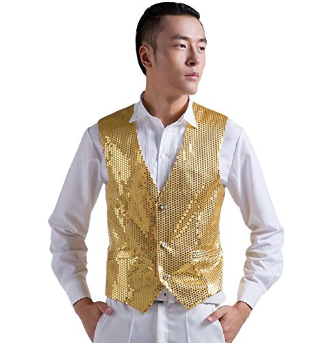 HAOYU Mens Stage Show Sequined Vest (M: Chest 37, Gold)