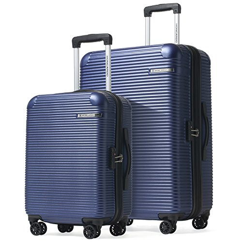 HONCARDO 2 Pcs Luggage Set 20 inch 28 inch Expandable ABS Spinner Travel Suitcase Light Weight Cabin Bag, Navy by HONCARDO
