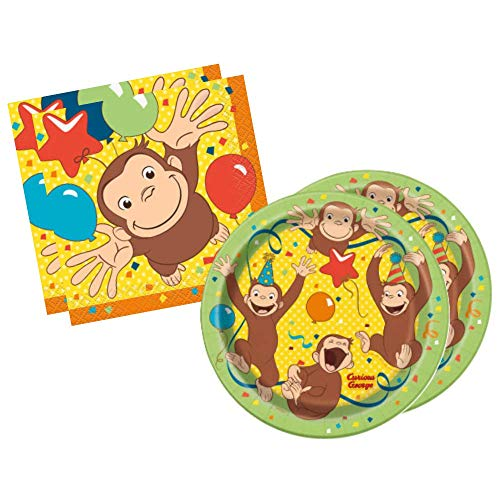 - Curious George Birthday Party Supplies and Decorations for Kids Bday (Beverage Napkins and Dessert Plates - 4 pk)