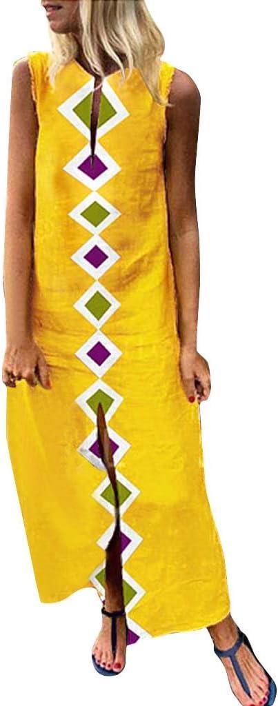 Women Beach Dress Boho Maxi Dress Floral Printed V-Neck Kaftan Maxi Dress Hem Baggy Long Dress Side Spilt