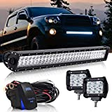 30/32 INCH 180W LED Light Bar Flood Spot Combo w/ 2PCS Pods Driving Fog Lights + 3LEAD Wiring Harness Kit for Offroad Chevrolet Silverado GMC Dodge Ram Sierra Ford F150 Jeep Toyota Truck ATV (DOT Approved) OSRAM CHIPS 12V~24V