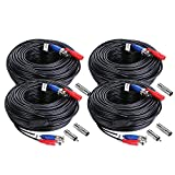 Sannce 4-Pack 100ft BNC Video and Power Security Camera Cable with BNC Connectors and RCA Adapters For CCTV Camera System (Black)