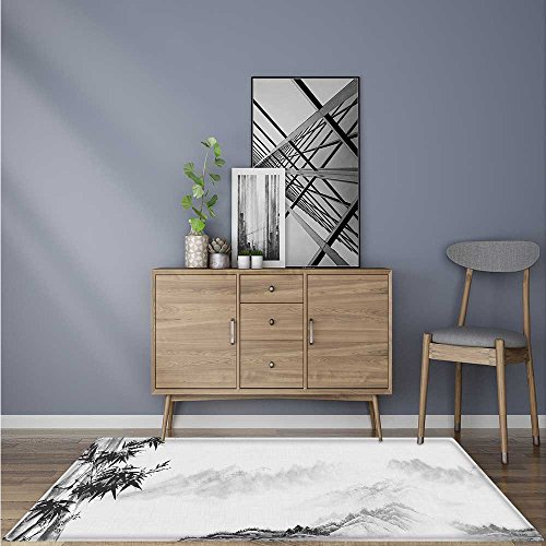Modern Rugs Banner Background of Water Bamboo Landscape Resistant Contemporary Soft Plush Quality W59 x L71 INCH ()