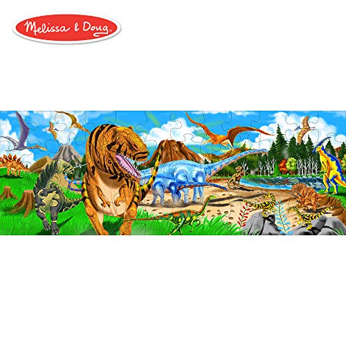- Melissa & Doug Land of Dinosaurs Floor Puzzle (Easy-Clean Surface, Promotes Hand-Eye Coordination, 48 Pieces, 4 Feet Long)
