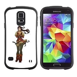 Paccase / Suave TPU GEL Caso Carcasa de Protección Funda para - Warrior Princess Girl Brown Hair Drawing Art - Samsung Galaxy S5 SM-G900