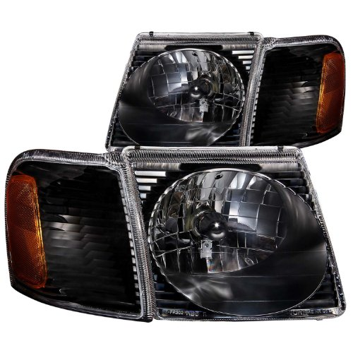 Anzo USA 111041 Ford Explorer Sport Trac Crystal Black Headlight Assembly - (Sold in Pairs)