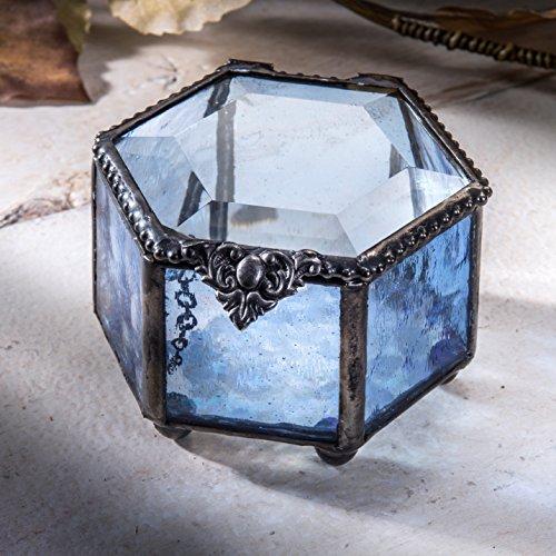 J Devlin Box 850 Hexagon Blue Glass Box Jewelry Display Keepsake Display Gift Decorative Storage Trinket Ring Box Hexagon Case