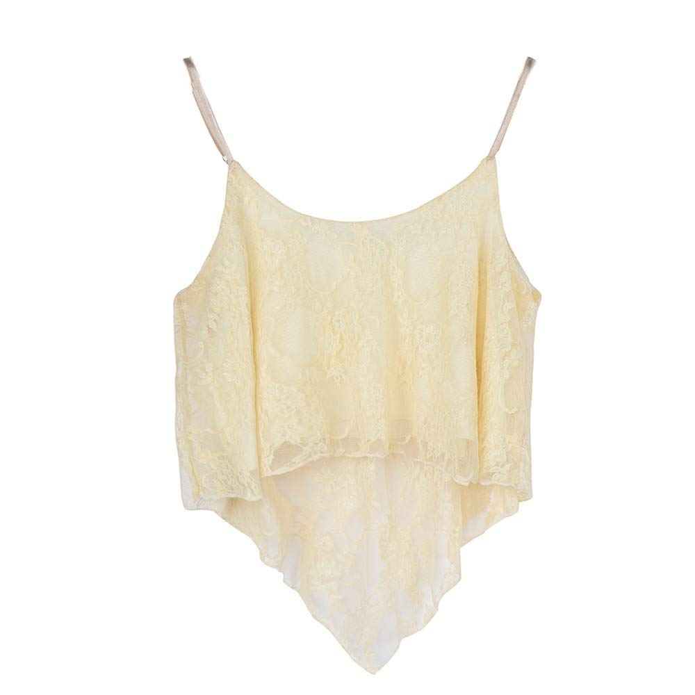Women Loose Lace Sling Short Top Crop Vest Polo Men Sleeveless Cami Strapless Blouse Shirts Beige