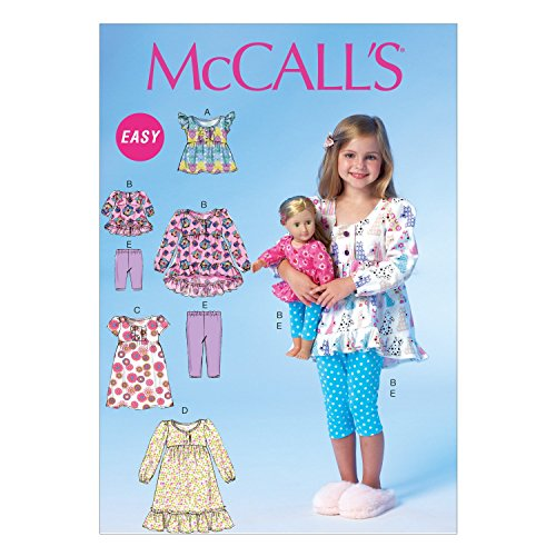 McCall Pattern Company M7043CL0 Children's/Girls/18-Inch Doll Tops, Dresses and Leggings Sewing Template, CL (6-7-8)