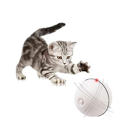 Pawaca - Pelota interactiva de juguete para gato con rodillo automático de 360 grados de rotación, juguete electrónico para mascotas con movimiento ...