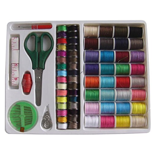 100PC Sewing Kit Thread Threader Needle Tape Storage Box Measure Scissor - Austin Macy