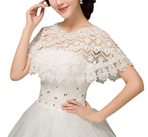 ZAHY Women's Wraps Cape Lace Shawl for Wedding Dresses (White - Shawl Dress Gown Wedding