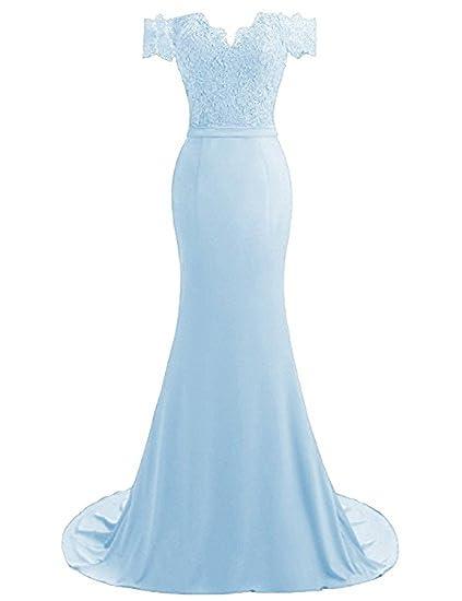c7d8920acab1 YSMei Women s Lace Applique Off Shoulder Evening Pary Dresses Long Long  Wedding Party Gowns Chiffon Mermaid