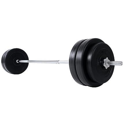 Physionics® Barra de musculación de Pesas 56.5 kg - Barra Larga 168 cm con 6