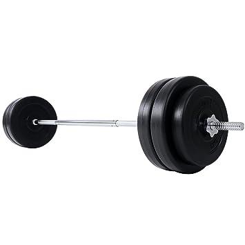 Physionics® Barra de musculación de Pesas 56.5 kg - Barra Larga 168 cm con 6 Discos: Amazon.es: Deportes y aire libre