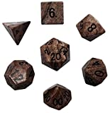 Custom & Unique {Standard Medium} 7 Ct Pack Set of [D4, D6, D8, D10, D12, D20] Assorted Polyhedral Shapes Playing & Game Dice Made of Jasper Gemstone w/ Classy Agate Design [Black & Brown]