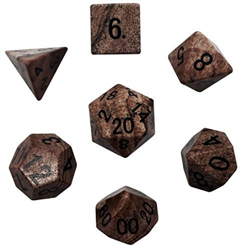 Custom & Unique {Standard Medium} 7 Ct Pack Set of [D4, D6, D8, D10, D12, D20] Assorted Polyhedral Shapes Playing & Game Dice Made of Jasper Gemstone w/ Classy Agate Design [Black & Brown] by mySimple Products