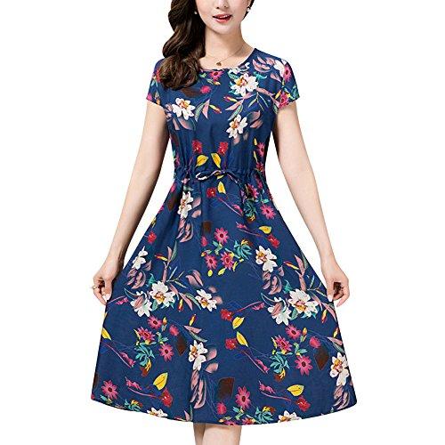Chic 1950s Vintage Vestidos Estilo de Audrey Hepburn de Rockabilly Vestidos de Cóctel con Estampado de Flores Marina Floral