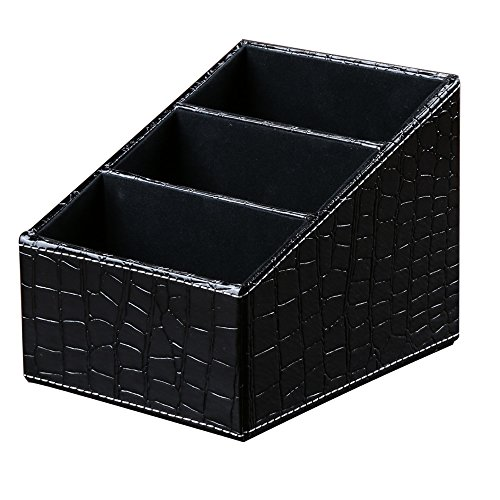 KINGFOM 3 Slot PU Leather Remote Control Holder Organizer, Home Sundries Storage Box, TV Guide/Mail/CD Organizer/Caddy/Holder with Free Cable Organizer (Croco Black) (Croco Mini Embossed)