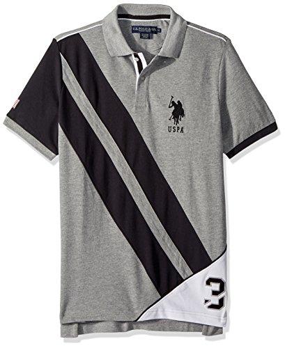 (U.S. Polo Assn. Men's Short Sleeve Classic Fit Fancy Pique Polo Shirt, Heather Grey Khkb, M)