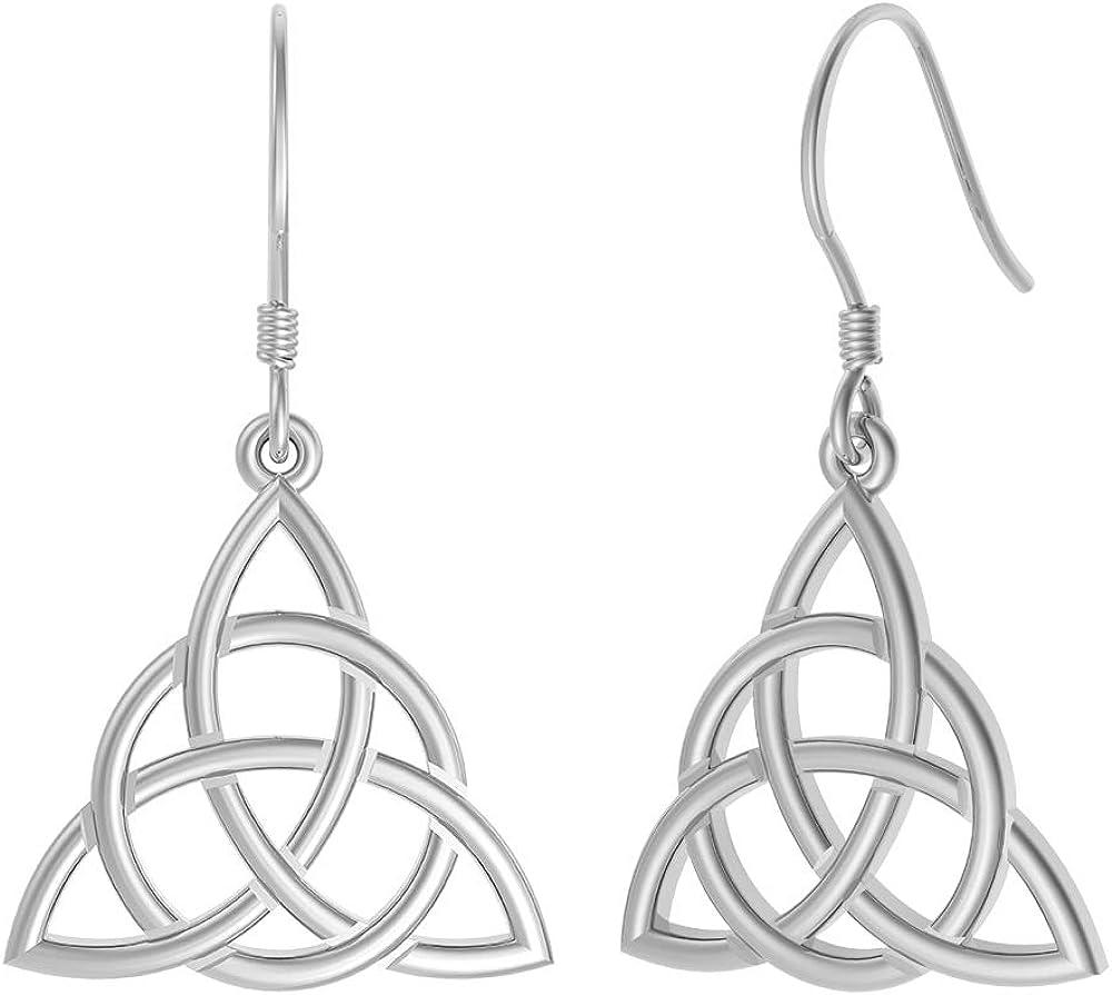 BoRuo Filigree Tear Drop Celtic Knot Vintage Dangles 925 Sterling Silver Earrings