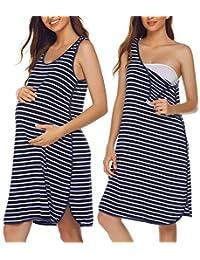 Ekouaer Women Maternity Sleeveless Dress Nursing Nightgown Pregnancy Gown for Breastfeeding