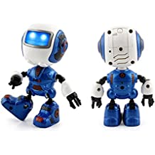 Electronic RC Robot Learning Toys,Dressin Toddler Intelligent Action Dancing Remote Control Robot Toys 12 Wheels Electric Car Stunt Toy Novelty Gift For Children (blue)