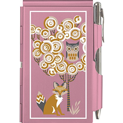 TROIKA The OWL & The Fox – FN1716 – Flip Notes Metal case Including Blank Notepad – Clasp: Silver Ballpoint Pen (Black Refill) – Opening Mechanism – Aluminium – Pink ()