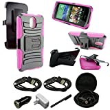 HTC Desire 526 Case, Mstechcorp - HTC Desire 526 (Verizon) Heavy Duty Hybrid Armor Dual Layer Kickstand Belt Clip Holster Combo Rugged Case for HTC Desire 526 - Includes Accessories (Holster Pink)