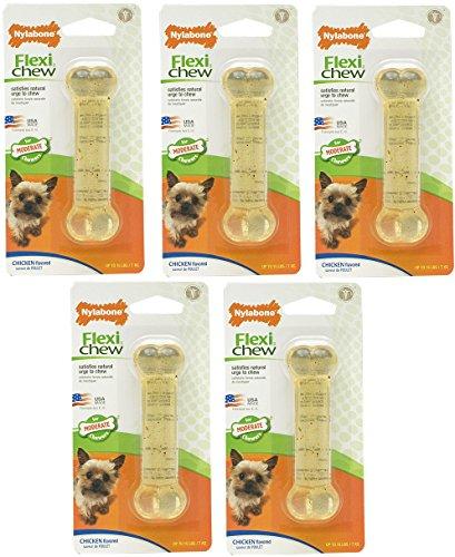 (5 Pack) Nylabone FlexiChew Chicken Flavored Bone Dog Chew Toy - Size Petite (Nylabone Flexible Chicken Bone)