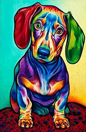 Komking DIY Oil Painting Paint by Numbers Kit for Adults Beginner, Colorful Animals Painting on Canvas 16x20inch - Cute Dog