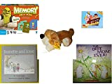 Children's Gift Bundle - Ages 3-5 [5 Piece] - Shrek Forever After Memory Game - Jake and the Never Land Pirates 24 Piece Puzzle Toy - Goffa Floppy Eared Brown Dog Plush 15