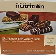 Nutmeg State Nutrition High Protein Snack and Meal Replacement Bar/Diet Bars - 15g Protein Bar Variety Pack (7ct) - Trans Fat Free, Aspartame Free, Kosher, High Fiber
