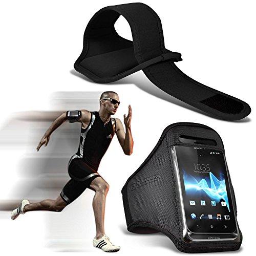 (Black) iPhone 7 Handy-Fall-Qualitäts-Einbau Sports Armbinden Laufen Rad Radfahren Jogging und Fitnessstudio Ridding Arm-Band-Fall-Abdeckung von i-Tronixs
