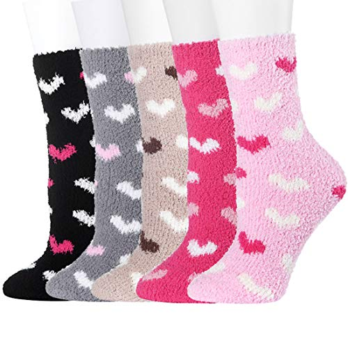 Fuzzy Slipper Socks Women Cozy Winter Crew Casual Cartoon Socks For Home Christmas]()