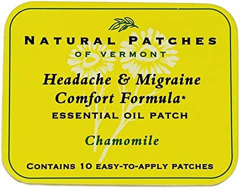Naturopatch of Vermont Headache and Migraine Comfort Formula Essential Oil Body Patches, Chamomile, 2.6 Ounce