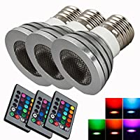 3X Bright E27 High Quality 85~265V 5W RGB Remote Control Safe Light Bulb
