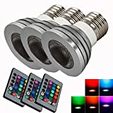 3X Bright E27 85~265V 5W RGB Remote Control Safe Light Bulb