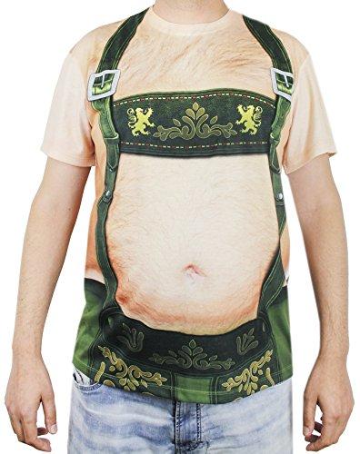 Oktoberfest T-Shirt For Men - Lederhosen Beer Belly Design - Size X-Large -