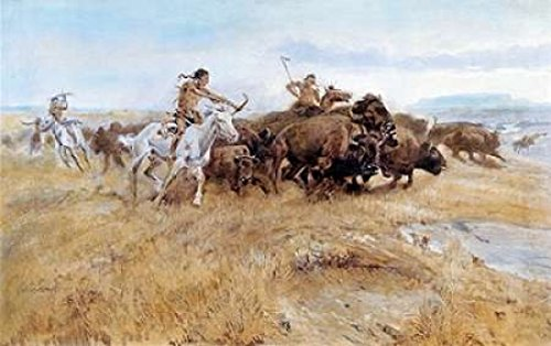 Posterazzi Buffalo Hunt Poster Print by Charles M. Russell (24 x 36)