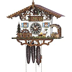 Hönes Cuckoo Clock Swiss house with moving beer drinker and mill wheel