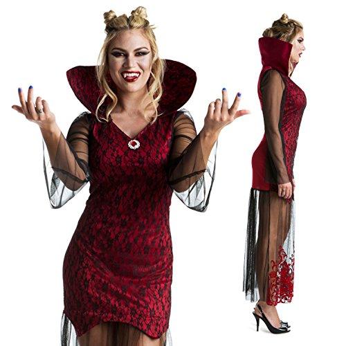 Womens Gothic Vampire Queen Vixen Fancy Dress Costume Costume,Med 6 - 8 US,Red (Vampire Fancy Dress Women)
