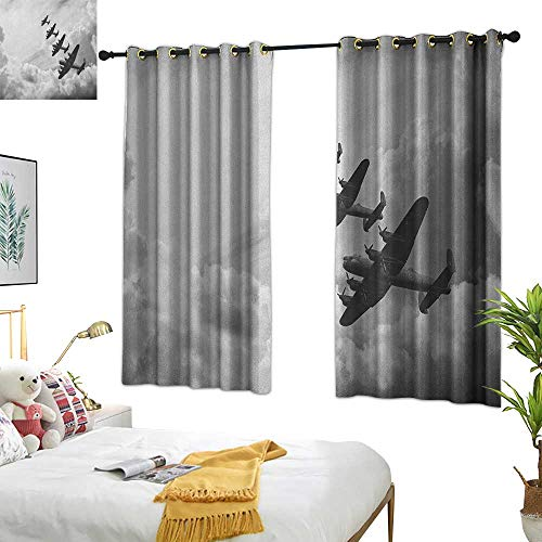 - Warm Family Thermal Curtains Airplane,Retro Image of Lancaster Bomber Jets from Battle Royal Air Force in Clouds Plane,Black White 72