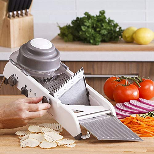 Waffle Cutter - Lekoch Stainless Steel Mandoline Slicer Manual Adjustable Vegetable Fruit Julienne Onion Waffle French Fry Kitchen Cutter Tools