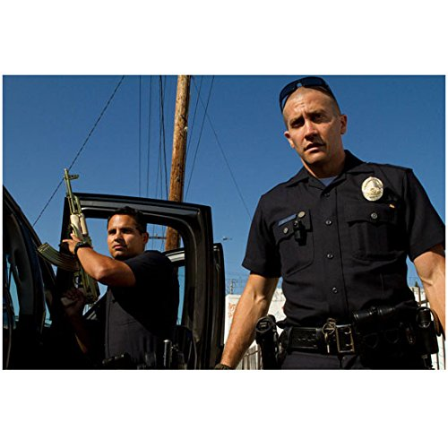 End of Watch 8 Inch x 10 Inch Photo Jake Gyllenhaal Sunglasses on Head & Michael Pena Next to Truck w/Rifle Pointed Straight Up Blue Sky - Blues Sunglasses Jake