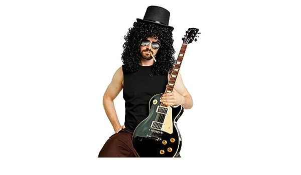 Heavy Metal Slash peluca Sombrero espejo gafas de sol disfraz Kit - negro -: Amazon.es: Ropa y accesorios