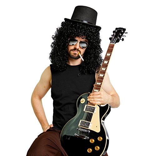 Slash Costume (Heavy Metal Slash Wig Top Hat Mirrored Sunglasses Costume Kit (Black))