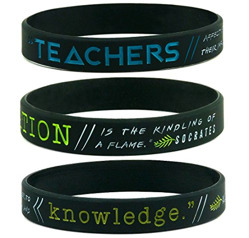 (6-pack) Teachers' Inspirational Wristbands w/ Quotes by Socrates, Henry Adams, & Einstein - Unisex Gifts for Teachers