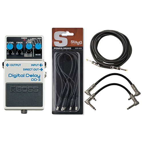 (BOSS DD-3 Digital Delay Pedal w/ Daisy Chain Power Cable and 3 Cables)